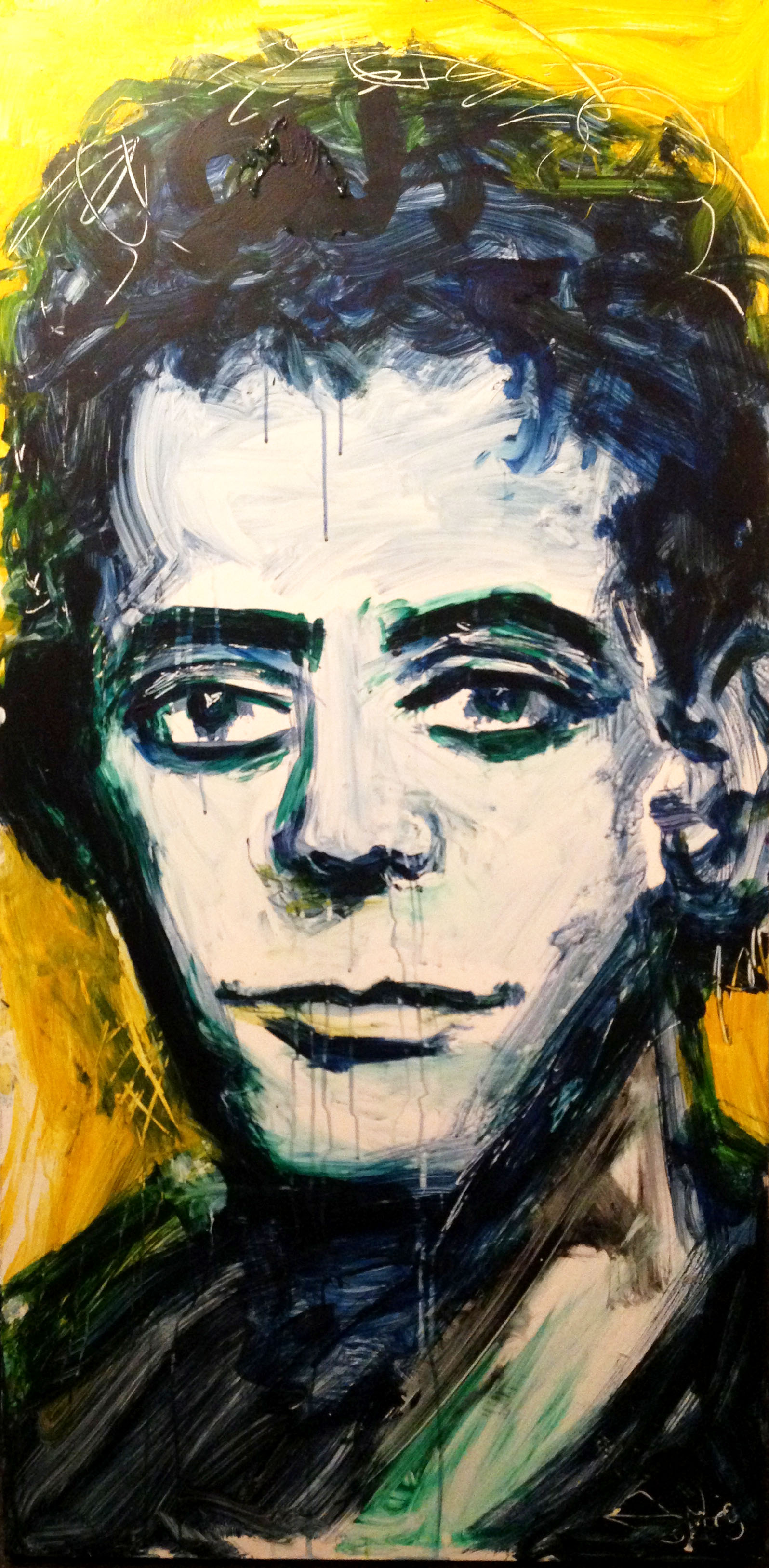 Lou Reed painting created live at East 7th Street Benefit at Theater 80 in NYC