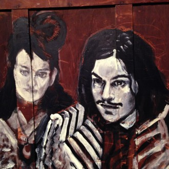 Meg & Jack White …  painting mid-process …