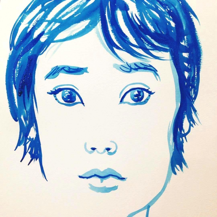 Watercolor Blue Teen